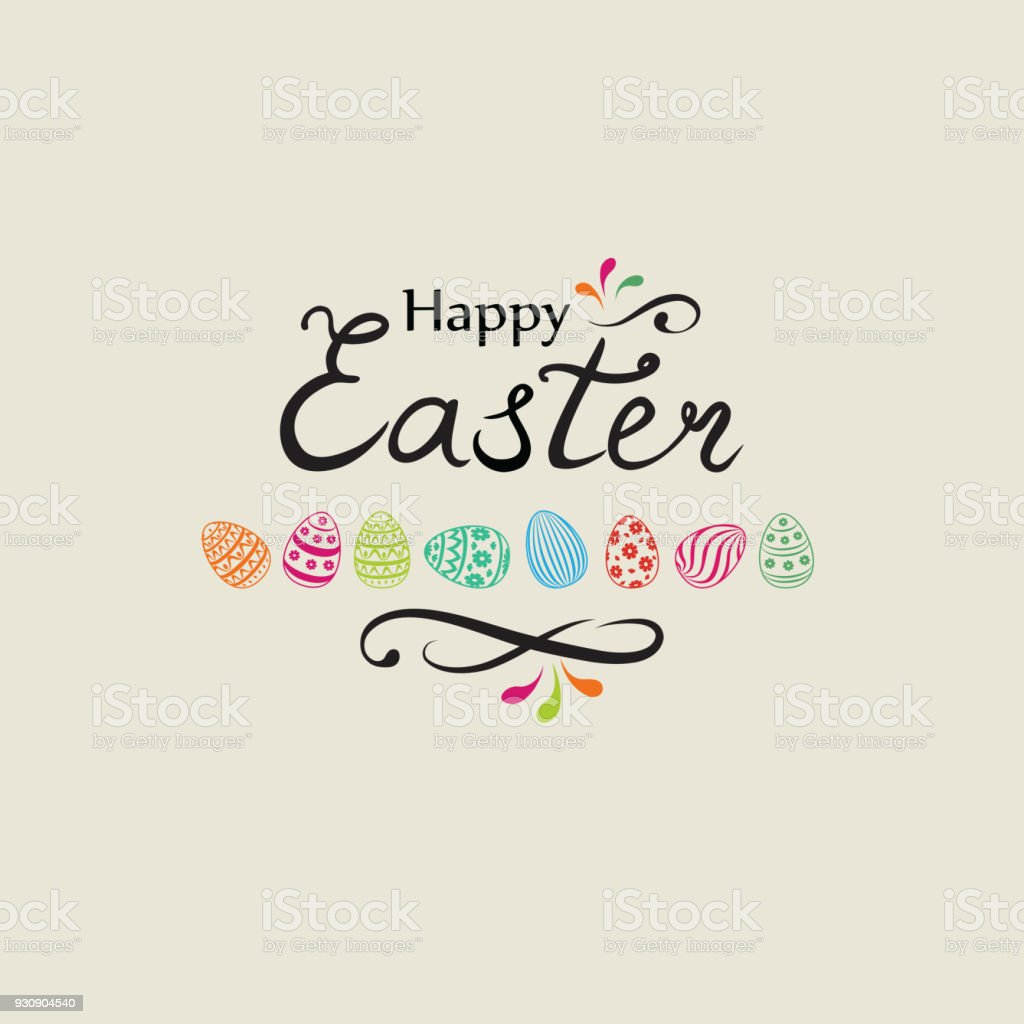 Happy easter greeting card holiday decorative bakground with easter happy easter greeting card holiday decorative bakground with easter eggs royalty free happy easter m4hsunfo Images
