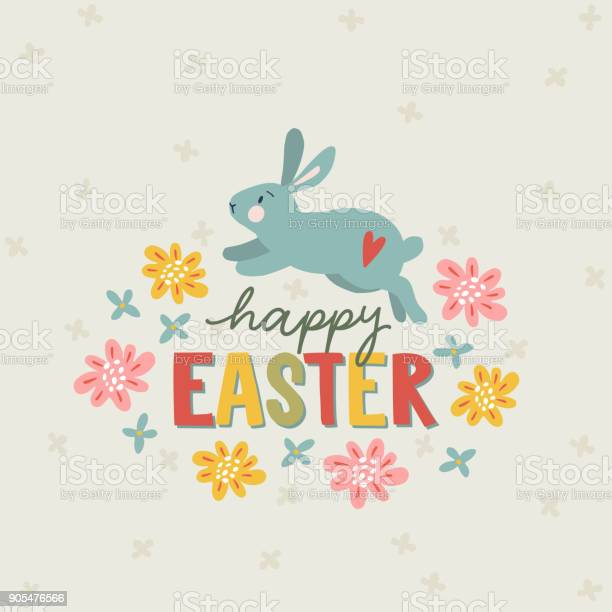Happy easter greeting card invitation with hand drawn running hare or vector id905476566?b=1&k=6&m=905476566&s=612x612&h=liovkdiqxebunaklv9fx2m 9thi4gkbet0shpjuywsw=