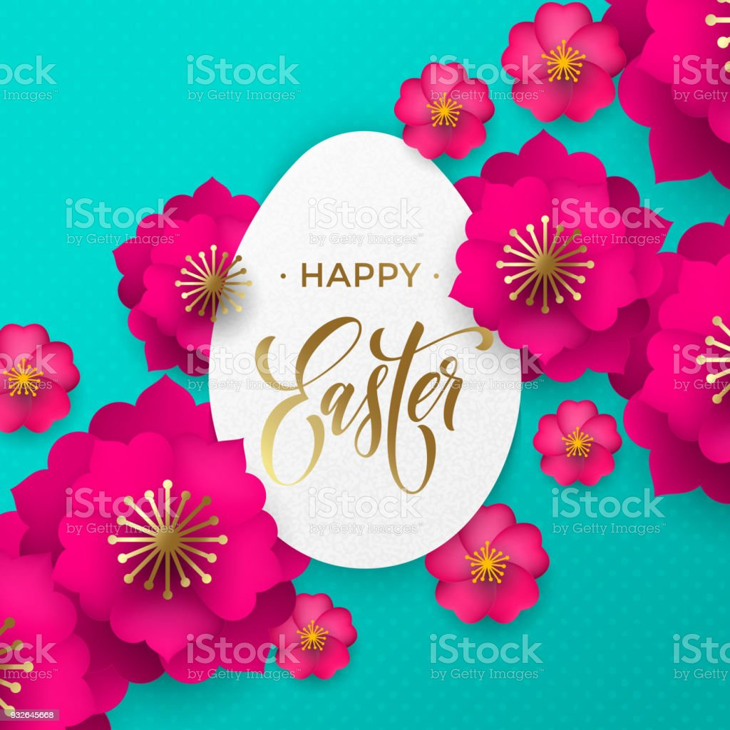 Happy easter greeting card of egg paper cut and flowers pattern for happy easter greeting card of egg paper cut and flowers pattern for easter hunt or he m4hsunfo