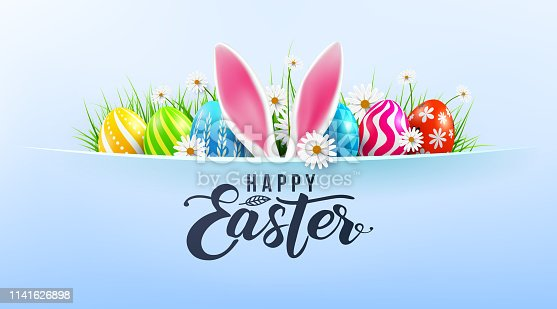 istock Happy Easter greeting card poster and template with Easter Eggs and flower on blue.Greetings and presents for Easter Day.Promotion and shopping template for Easter Day.Vector illustration EPS10 1141626898