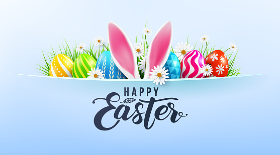 Happy Easter greeting card poster and template with Easter Eggs and flower on blue.Greetings and presents for Easter Day.Promotion and shopping template for Easter Day.Vector illustration EPS10