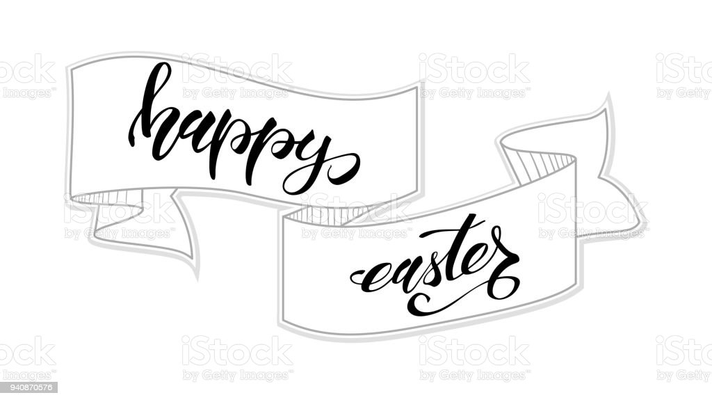 Happy easter greeting card template handwritten calligraphy and happy easter greeting card template handwritten calligraphy and sketchy hand drawn banner hand drawing m4hsunfo Images