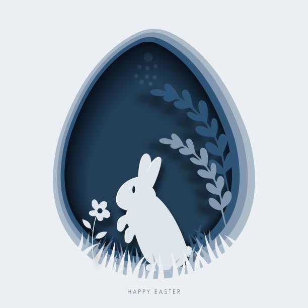Feliz plantilla de tarjeta de felicitación de Pascua. ilustración cortada en papel de conejo de Pascua, hierba, flores y forma de huevo azul. - ilustración de arte vectorial