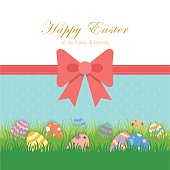 Colourful Easter eggs on green field with decoration of red ribbon / Vector illustration.