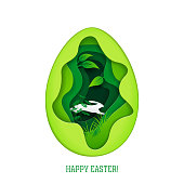 Happy Easter greeting card. Paper art style vector illustration. Elements are layered separately in vector file.