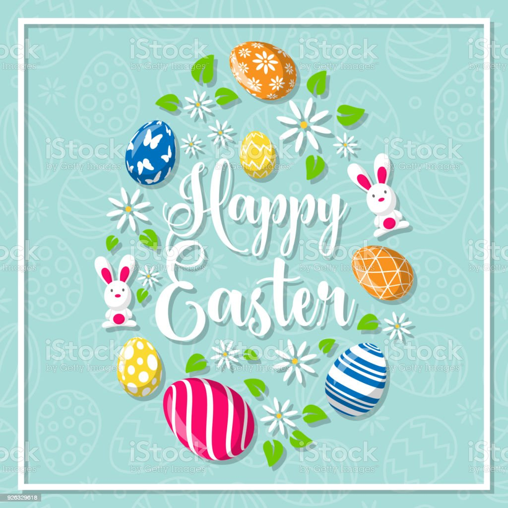 Happy Easter Greeting Card Stock Vector Art More Images Of Animal