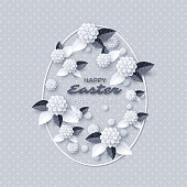 Happy Easter greeting card. Paper cut flowers with glitter leaves, holiday background. Vector illustration.
