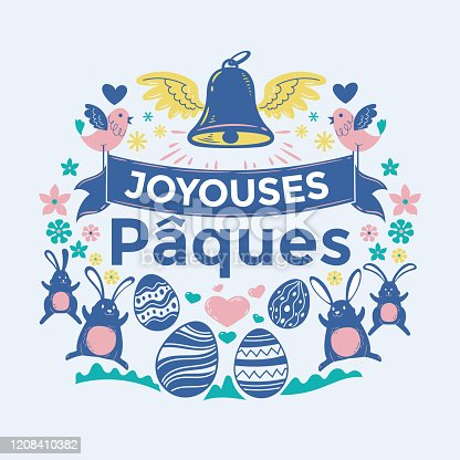 istock Happy Easter Greeting Card Vector Illustration. Joyouses paques mean Happy Easter 1208410382