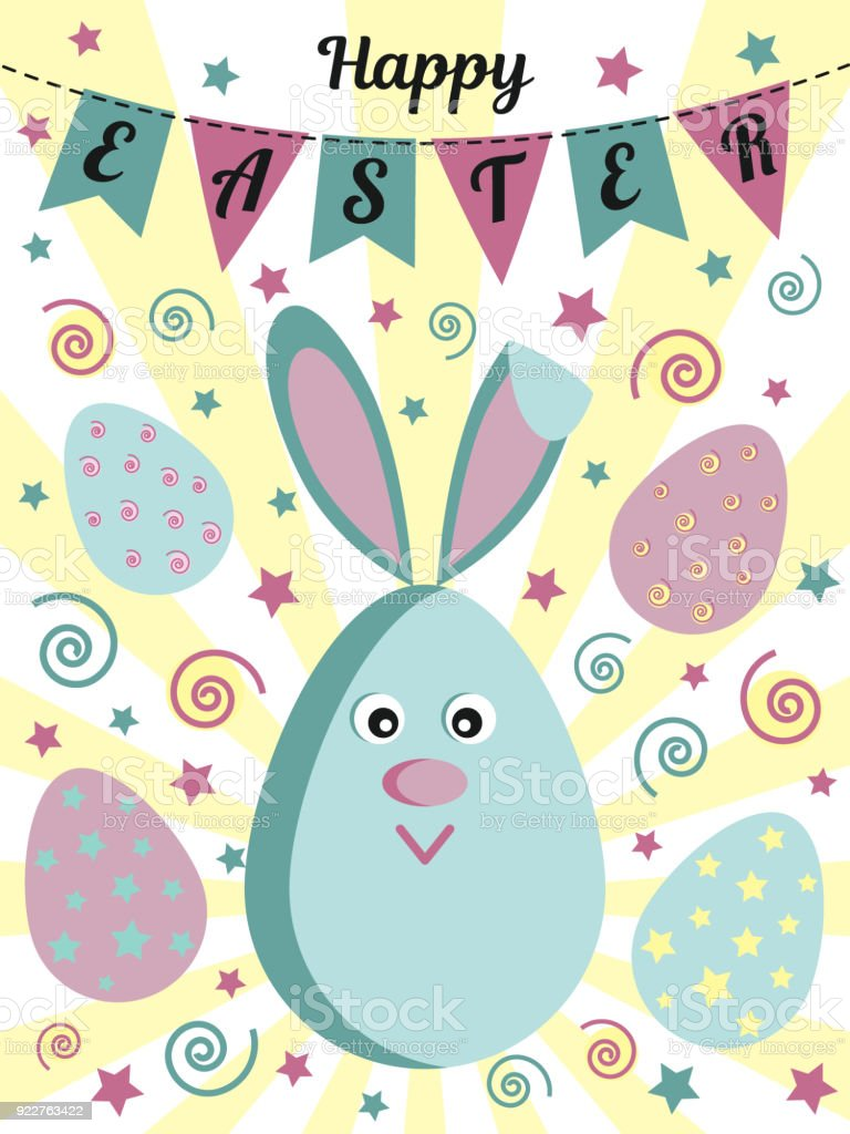 Happy easter greeting card with a cute rabbit or a hare painted eggs happy easter greeting card with a cute rabbit or a hare painted eggs flags m4hsunfo
