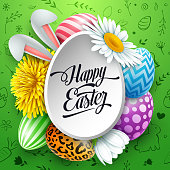 Vector illustration of Happy Easter greeting card with colored eggs, flowers, bunny ears and cute doodles on green background