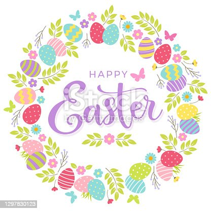 istock Happy Easter greeting card with colorful eggs and floral wreath. 1297830123