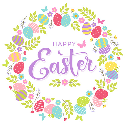 Happy Easter greeting card with colorful eggs and floral wreath.