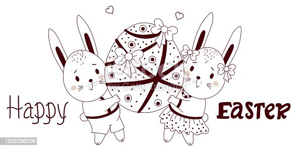 istock Happy Easter - greeting card with cute Easter bunnies. A boy and a girl are holding a large Easter egg with decor and ribbons. Vector, outline. For design, decor, postcards and printing 1305296206