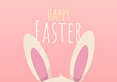 happy easter greeting card with easter bunny, happy easter, vector illustration