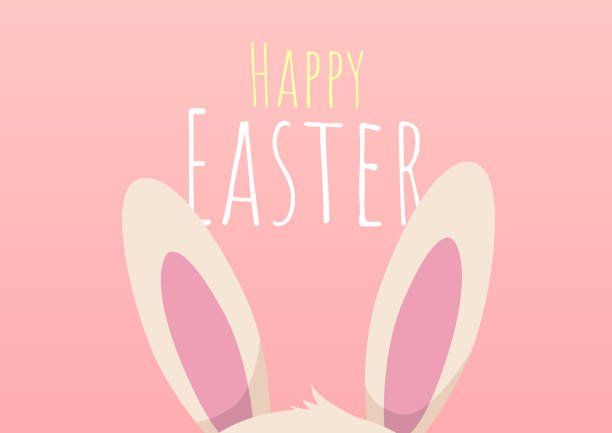 happy easter greeting card with easter bunny vector art illustration