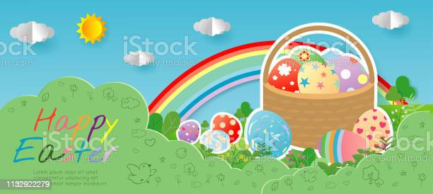 Happy easter greeting card with egg on blue sky background easter vector id1132922279?b=1&k=6&m=1132922279&s=612x612&h=iwjqjk4cq7hf86u pxsr0qdunw iys1bfbywepsfqdk=
