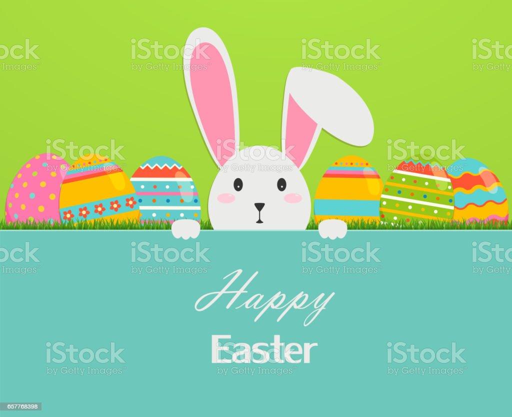 Carte de voeux joyeux Pâques avec œufs, herbe et le lapin. - Illustration vectorielle
