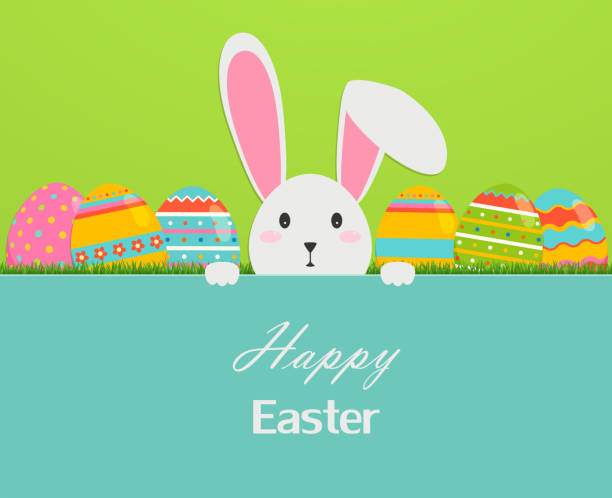 Happy easter greeting card with eggs, grass, and rabbit. vector art illustration