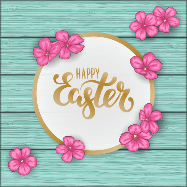 Happy Easter greeting card with flowers pink daisy on blue wooden table. Hand drawn brush pen lettering. design holiday greeting card and invitation of happy Easter day spring Happy Easter greeting card with flowers pink daisy on blue wooden table. Hand drawn brush pen lettering. design holiday greeting card and invitation of happy Easter day spring. cartable stock illustrations