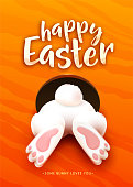 Happy Easter greeting card with funny cartoon white easter bunny ass, foot, tail in the hole on bright orange background. Celebration holiday lettering text. Vector illustration