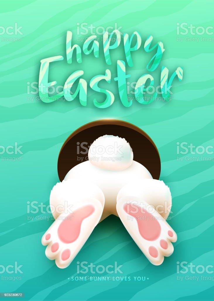 Glückliches Ostern Grußkarte mit lustigen weißen Cartoon Ostern Hase Esel, Fuß, Heck - Lizenzfrei Abstrakt Vektorgrafik