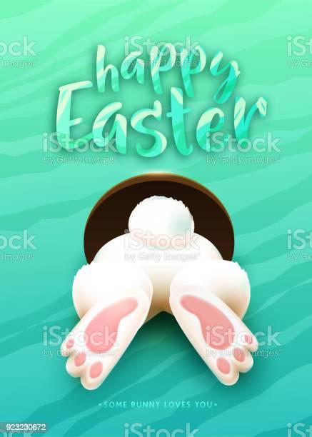Glückliches Ostern Grußkarte Mit Lustigen Weißen Cartoon Ostern Hase Esel Fuß Heck Stock Vektor Art und mehr Bilder von Abstrakt