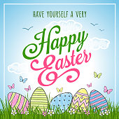 Happy Easter greeting card with hand drawn eggs, butterflies, and flowers