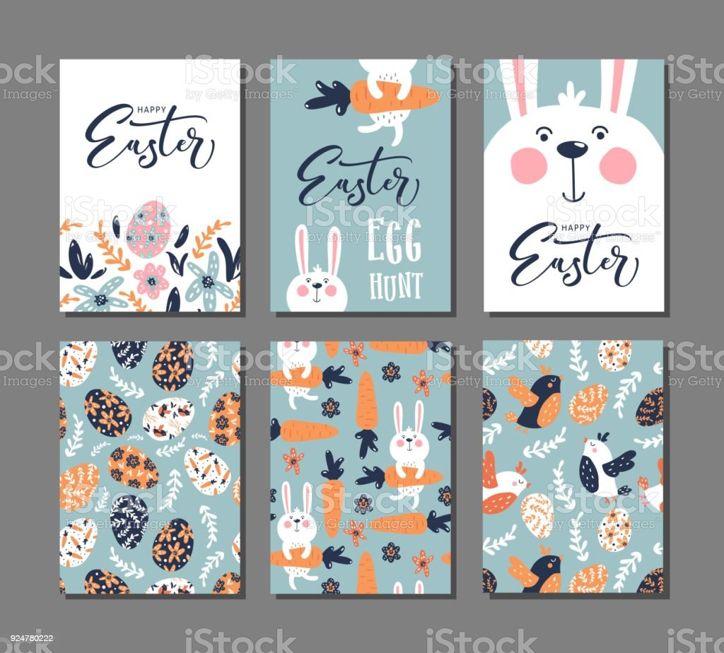Happy Easter greeting card with rabbit, bird and lettering text. Set of 6 postcard templates with message. vector art illustration