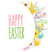 Greeting card design template for Easter holidays. Cute bunny, colored eggs and spring flowers create a festive cheerful mood. Vector illustration. Isolated on white background.