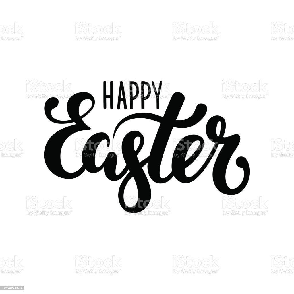 Happy Easter Hand drawn lettrage de stylo de calligraphie et brosse - Illustration vectorielle