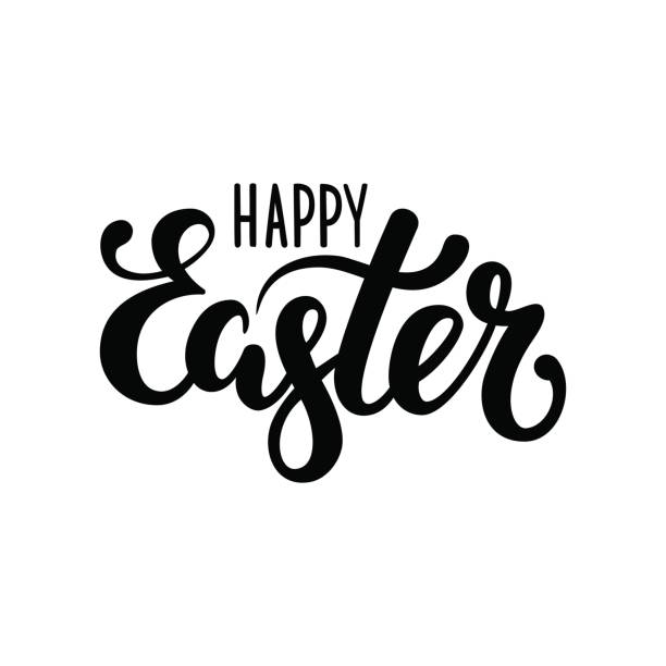 happy Easter Hand drawn calligraphy and brush pen lettering vector art illustration