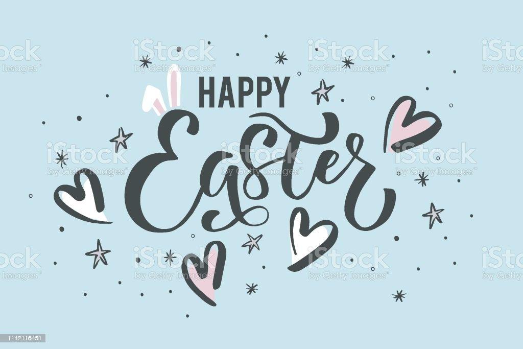 Happy Easter El Cizilmis Tasarim Elemanlari Hediyeler Duvar