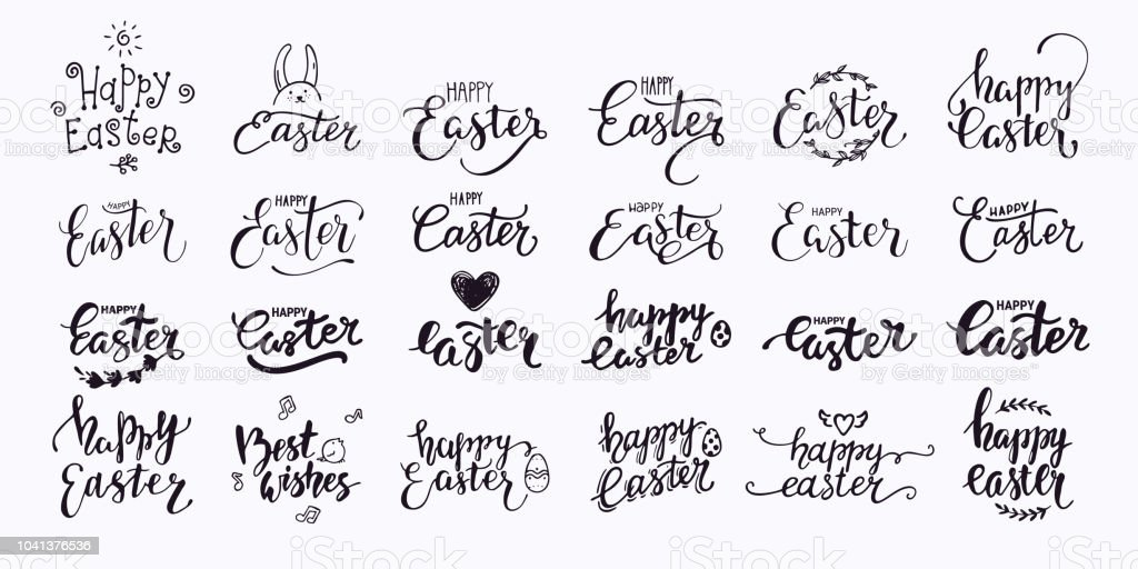 happy easter hand written lettering modern brush calligraphy text collection for invitation greeting card