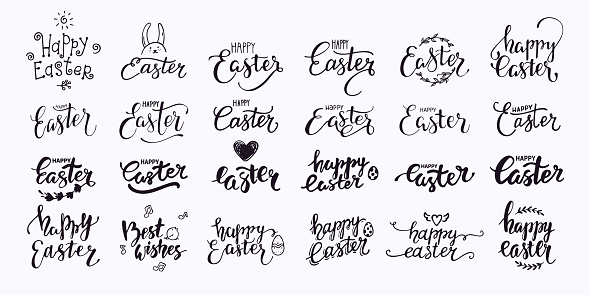 Happy Easter Hand Written Lettering. Modern Brush Calligraphy Text Collection For Invitation, Greeting Card Templates. Isolated Vector Clipart.