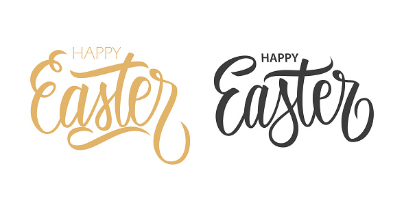 Happy Easter handwritten inscriptions. Hand lettering for Easter holiday greeting cards, party posters and invitations.
