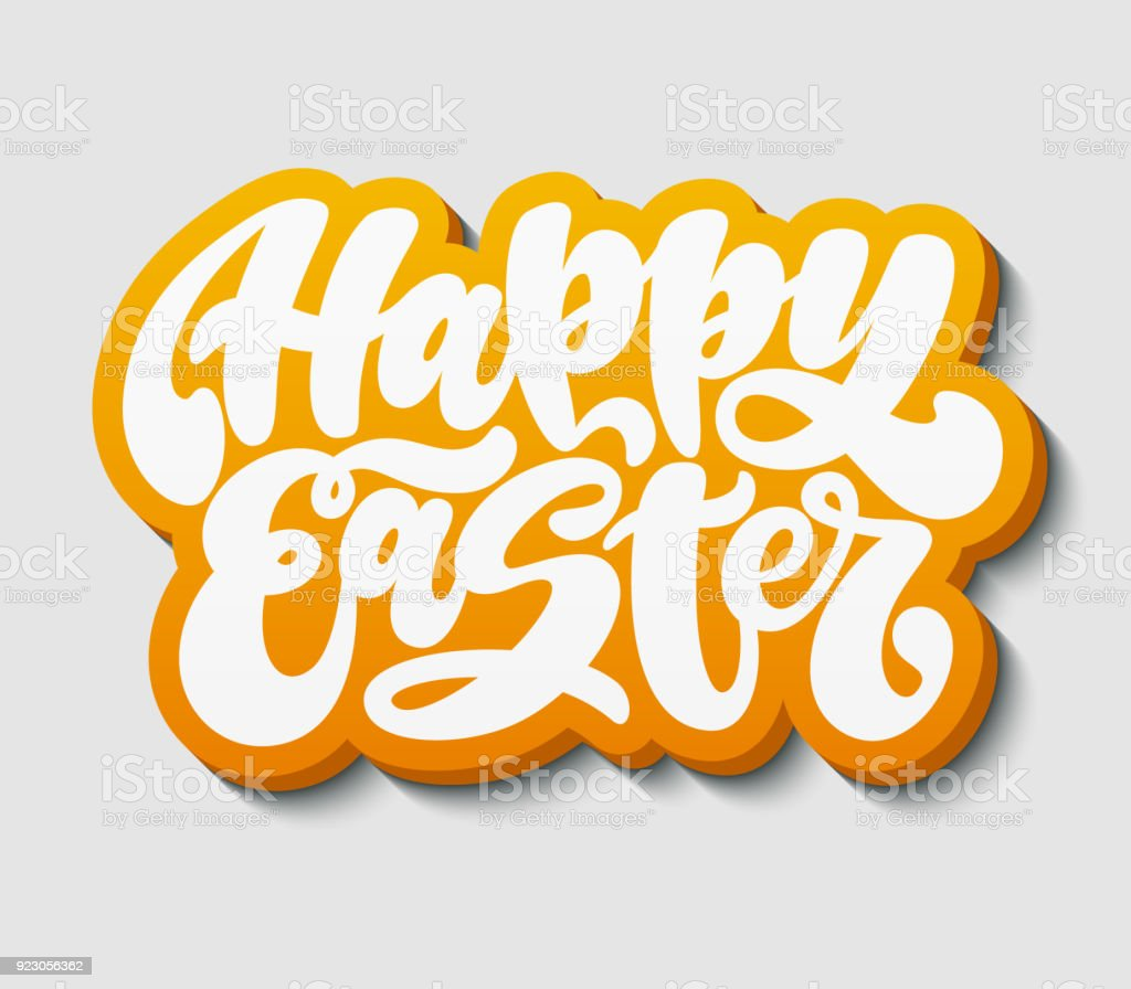 Happy Easter Handwritten Lettering Phrase With 3d Shadow Graffiti Calligraphic Written Style Holiday