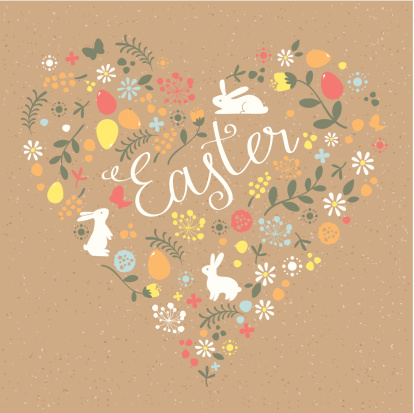 Happy Easter heart craft paper greeting card