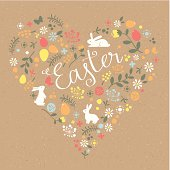 Happy Easter heart craft paper greeting card with banny, flowers, batterfly and eggs. Brown paper seamless pattern on background. Global colors used - easy to change color.