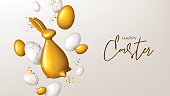 Happy Easter holiday banner template. Festive background with gold rabbit, white and golden eggs and confetti. Vector illustration with 3d decorative object. Greeting card.