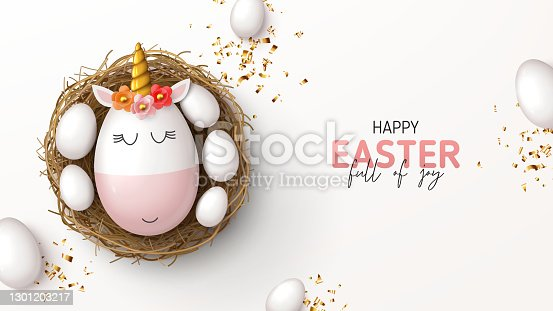 istock Happy Easter holiday banner 1301203217