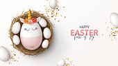 Happy Easter holiday banner. Cute unicorn from egg with gold horn in nest, white eggs and gold confetti. Vector illustration with 3d decorative objects for Easter design. Greeting card.