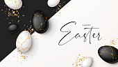 Happy Easter holiday banner. Top view on white and black eggs with golden liquid and golden confetti. Vector illustration with 3d decorative objects. Greeting banner.