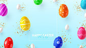 Happy Easter holiday banner. Color eggs with Easter decoration, white eggs and golden confetti . Vector illustration with 3d decorative objects. Holiday spring poster, card, cover, flyer.