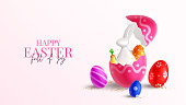 Happy Easter holiday banner. Color eggs with Easter decoration, porcelain rabbit in broken egg and golden confetti on pink background. Vector illustration with 3d decorative objects.