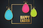 Happy Easter holiday banner with golden easter eggs. Vector illustration.