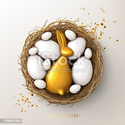 istock Happy Easter holiday card template 1296831653