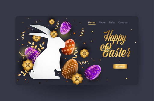 happy easter holiday celebration sale banner flyer or greeting card with decorative eggs in rabbit shape