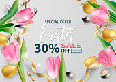 Happy Easter holiday design sale banner. Beautiful banner with realistic 3d golden and quail Easter eggs, pink tulips, satin gold ribbons and quail feathers on gray background. Vector illustration.