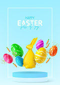 Happy Easter holiday flyer. Eggs with Easter decoration, rabbit, carrots and confetti on podium with frame. Vector illustration with 3d decorative objects. Holiday spring poster, card, cover, banner.