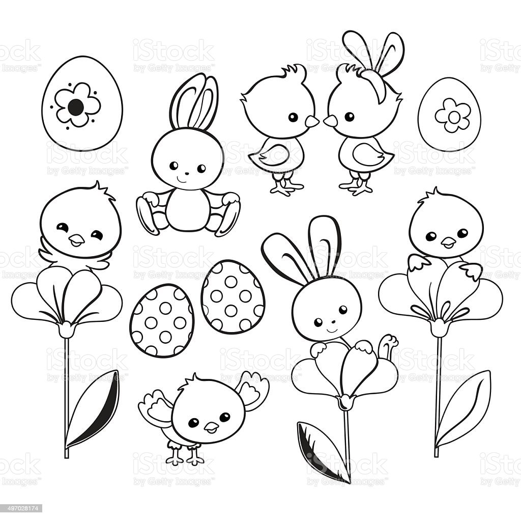 happy easter holiday illustration cartoon characters coloring page vector illustration stock Disney Easter Coloring Pages  Cartoon Character Easter Coloring Pages